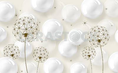 3d white background, shiny bubbles, golden dandelions