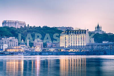 Kiev, Ukraine - May 4, 2018: beautiful background, sunset on the Dnieper, overlooking the Podil