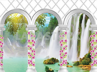 3d illustration of white arches and columns, braided with roses and a view of the waterfalls
