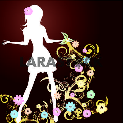 Spring background with slim girl silhouette and flowers swirl on brown background