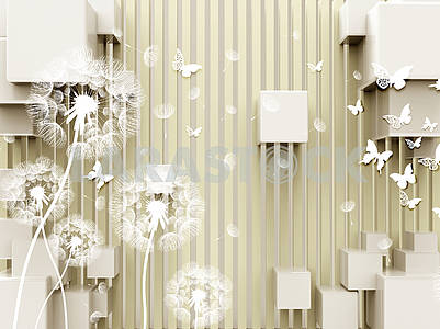 3d illustration, beige background, vertical stripes, cubes, white dandelions, white paper butterflies