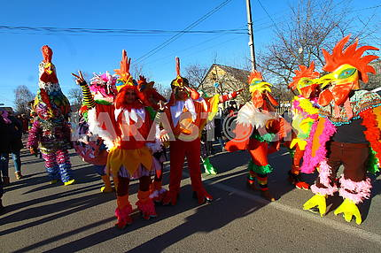 People in rooster costumes
