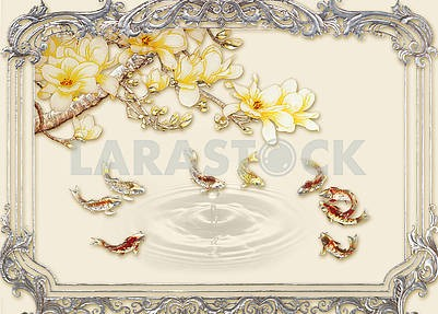 3d illustration, beige background, vintage silver frame, golden branch with yellow flowers, goldfish, water splash