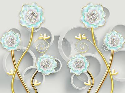 3д иллюстрация, серый фон, серые кольца, голубые цветы с жемчугом на золоченых стеблях