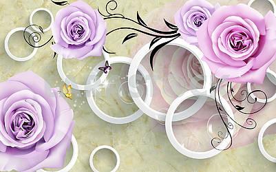 3d illustration, marble background, white rings, purple roses