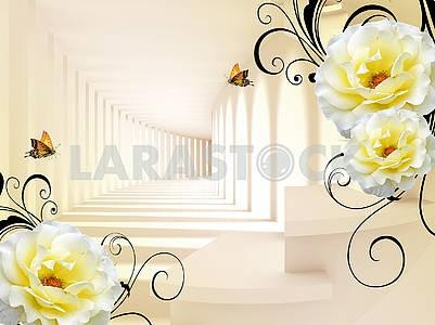 3д иллюстрация, коридор, свет и тень, бежевый фон, крупные белые цветы, две бабочки