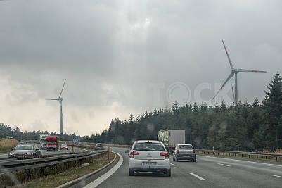 Autobahn and wind turbines