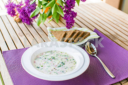 cold soup with bread