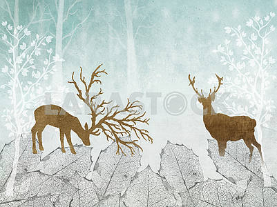 Abstract illustration, light blue background, white outlines of trees, large gray leaves, two brown deer contours