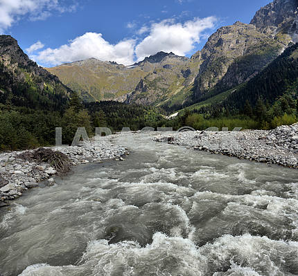 Mountain landscape with mountain river