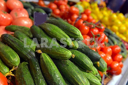 Cucumbers on display in a supermarket