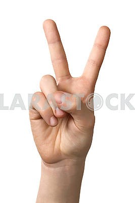 Man hand showing victory sign gesture, isolated on white backgro