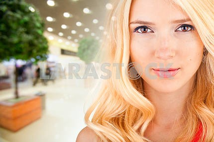 Portrait Beautiful girl in interior of store