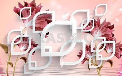 3д иллюстрация, розовый фон с белыми элементами и темными цветами