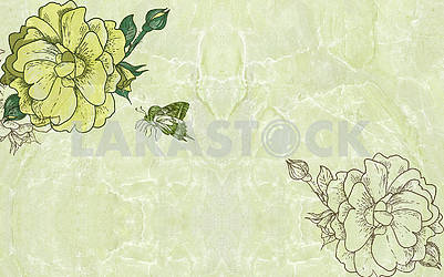 Green marble background, green flowers and butterfly