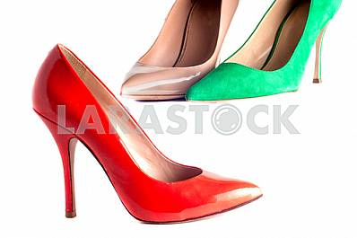 bright, multicolored female shoes on high heels