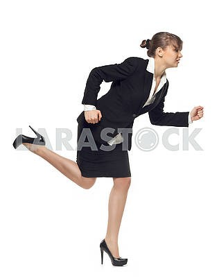 business woman in hurry running, in profile view, isolated