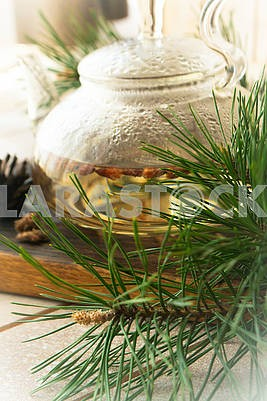medicinal decoction with pine buds, vertical image
