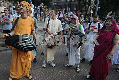 Participants of the Ratha Yatra Chariot Festival