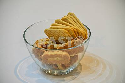 Glass vase with cookies