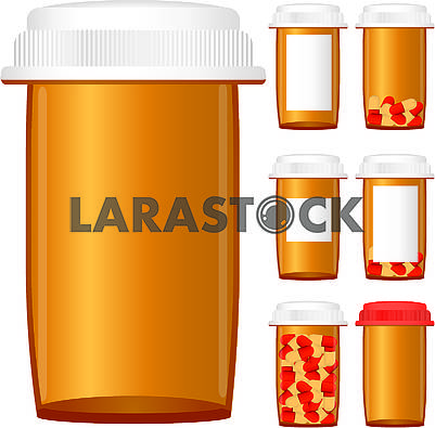 Set of prescription medicine bottles