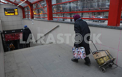 Woman at the tram stop