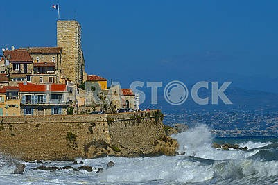 The seaside Antibes during a storm