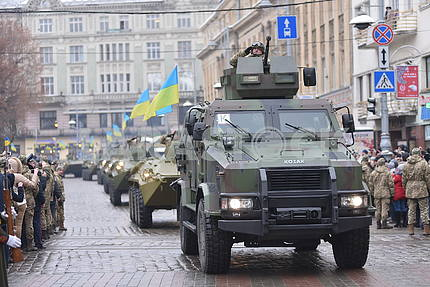 Armored personnel carriers on the march of defenders of the Fatherland in Lviv