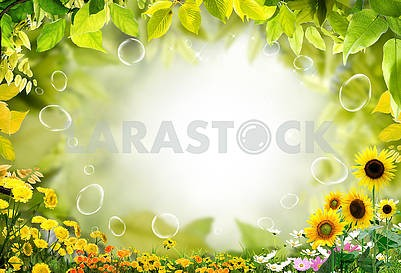 Light floral background, yellow dandelions, green leaves, sunflowers, daisies and soap bubbles