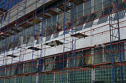 Scaffolding on the facade