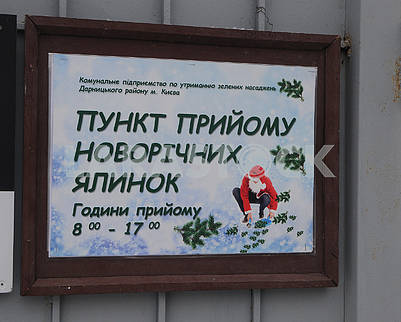 "Sign ""Point of reception of Christmas trees"""