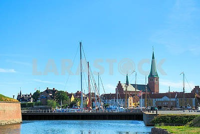 Yachts and ships at the castle of Kronborg