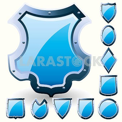 Set of blue security shields