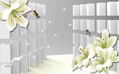 3d illustration, gray background with steps, light lilies