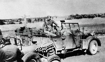 German officer with car Horch-901