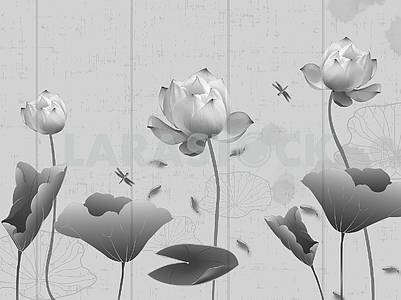 Monochrome illustration, vertical lines, water lilies with leaves, dragonflies, fish in water