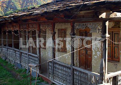 Veranda of the old house in the village of Shenako