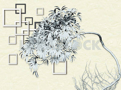 3d illustration, light background, white and gray square frames, fairy tree with roots