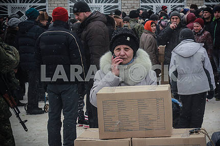A woman at the humanitarian aid post in Avdeevka