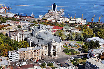 Odessa. Aerial view. Opera house and the port September 27, 2011