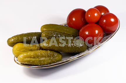 pickled tomatoes and cucumbers