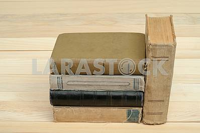 Stack of hardback books isolated on white background. Back to school. Copy space