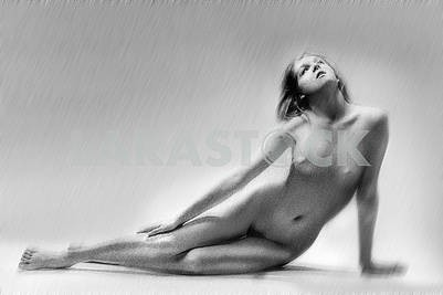 Nude girl  on a gray background