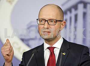 A press conference of Arseniy Yatsenyuk.