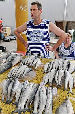 "A man sells fish in the market ""Privoz"" July 5, 2012"