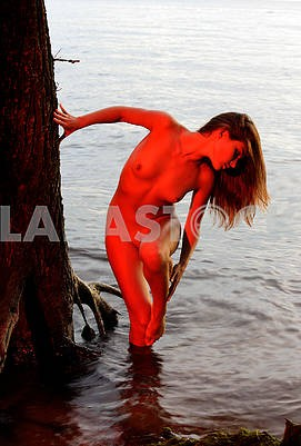 Naked girl on the riverbank