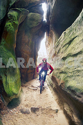 Biker on Skel Dovbush in Bubnyshche