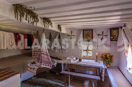 Ukraine. Cherkasy region. Kanev. The interior of the hut in which he lived as a child Taras Shevchenko