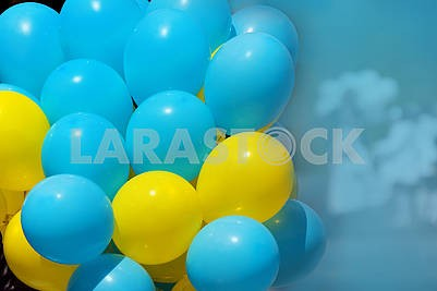 Colored balloons yellow and blue