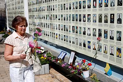 Memory of killed Ukrainian soldiers near llovaysk